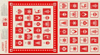 Makower UK Scandi - 4715 - Scandi Advent Calendar Panel - 1595-1 - Cotton Fabric